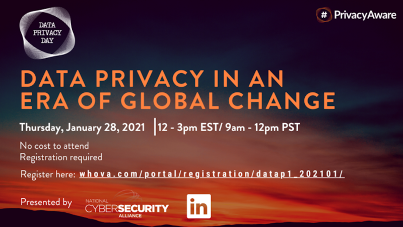 Go to whova.com/portal/registration/datap1_202101/ to register for the webinar: Data Privacy in an era of global change