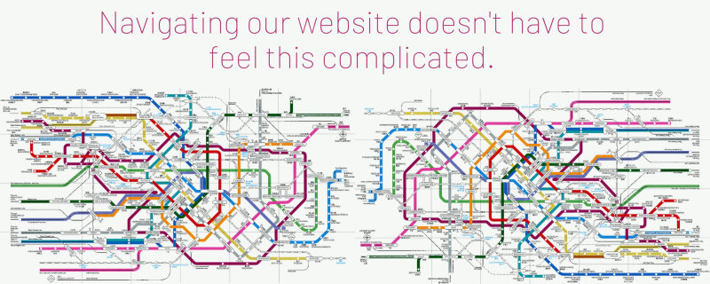 """Image of complex subway map with the text """"Navigating our website doesn't have to feel this complicated."""""""