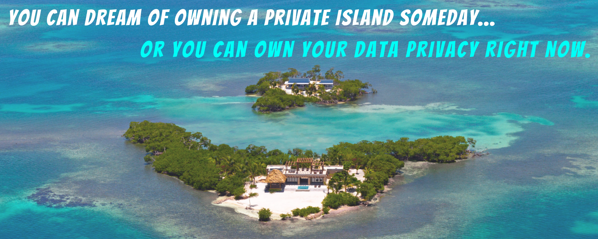"Image of an island with the words ""You can dream of owning a private island someday... or you can own your data privacy right now."""