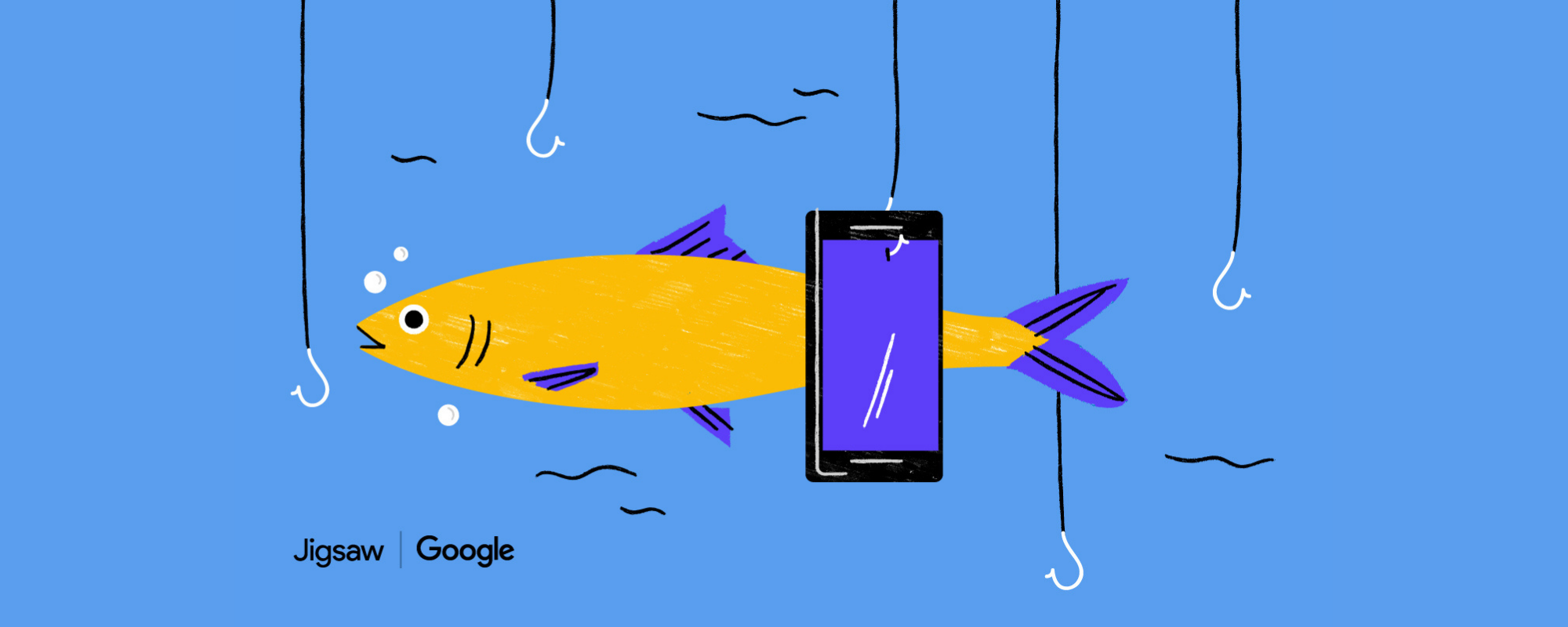 Image of a fish, fishing hooks, and a smartphone.