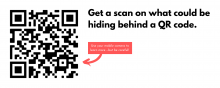 "A QR code linking to the QR-Hack page on the UVA Security website, with a caption: ""Get a scan on what could be hiding behind a QR code."""