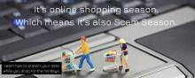 Picture of online shoppers with the text: It's Online Shopping season. Which means it's also Scam Season.